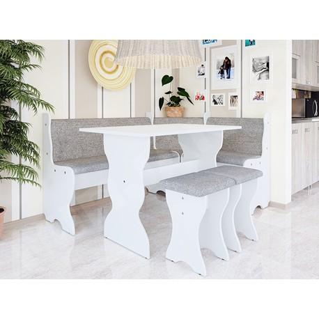 Rohová sedačka do kuchyne + stolík + taburetky Samot