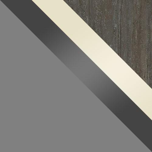 šedý / šedý lesk + krém lesk / pracovná doska: travertín